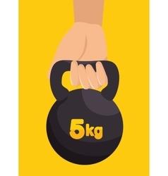 Hand holds kettlebell fitness design vector