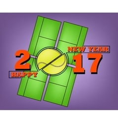 Happy new year 2017 and tennis ball vector