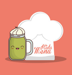 Kids menu hat chef and glass cup vector