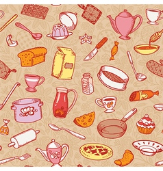 Kitchen and cooking pattern vector