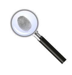 Magnifying glass searching for fingerprint vector image vector image