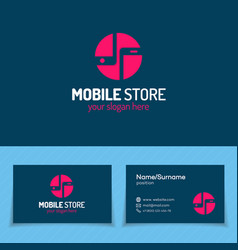 mobile store logo set with silhouette two phone vector image