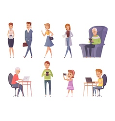 People with gadgets set vector