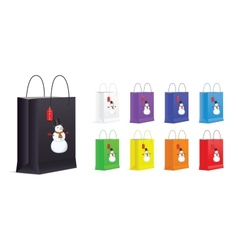 Set of Shopping Bags with Snowman and Sale Label vector image