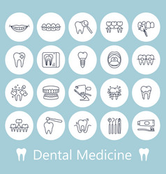 teeth dentistry medical line icons vector image vector image