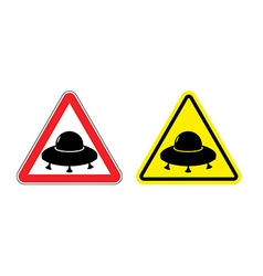 Warning sign of a UFO Hazard yellow sign flying vector image vector image