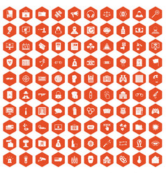 100 hacking icons hexagon orange vector image vector image