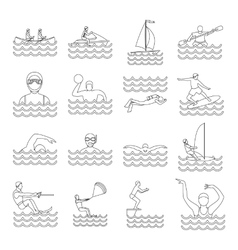 Water sport icons set outline style vector