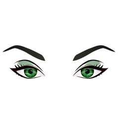Realistic cartoon female green eyes and vector