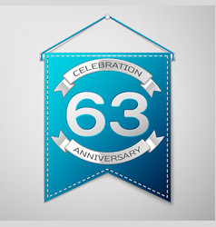 Blue pennant with inscription sixty three years vector