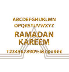 golden letters and figures of the english alphabet vector image