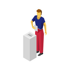 isometric 3d man put voting paper in election box vector image