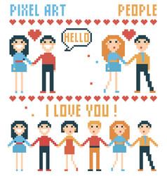 Set of pixel people words hearts vector