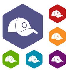 Cap icons set hexagon vector