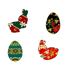 Rabbit and easter eggs folklore vector
