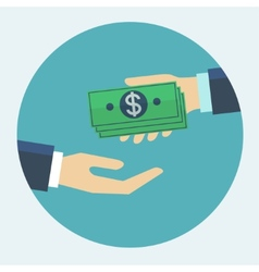Hand giving money to other hand flat design vector