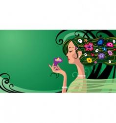 girl in green vector image