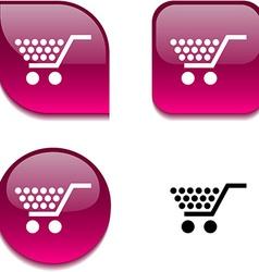 Shopping glossy button vector
