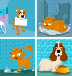 Cat and dogs cartoon vector