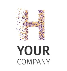 Alphabet particles logotype letter-h vector