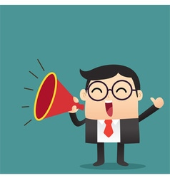 Business cartoon with megaphone vector
