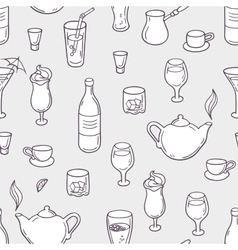 Seamless pattern with stylized doodle drinks in vector