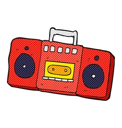 Comic cartoon radio cassette player vector