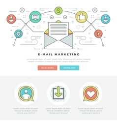 Flat line e-mail marketing concept vector