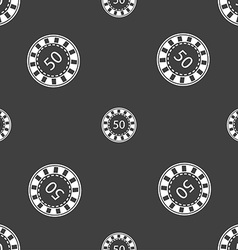 Gambling chips icon sign seamless pattern on a vector