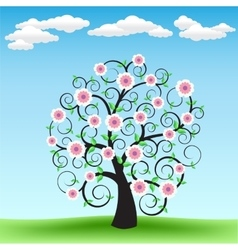 Blooming tree and sky vector
