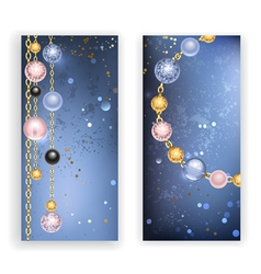 Two banners with beads vector