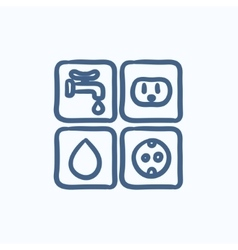 Utilities signs electricity and water sketch icon vector