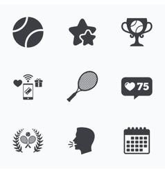 Tennis ball and rackets icons laurel wreath vector