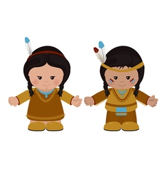 American indians man and woman in national dress vector