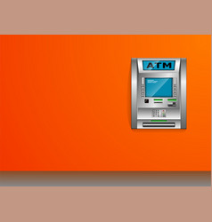 Atm - automated teller machine orange wall metal vector