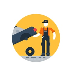 Auto repair shop worker in uniform with car check vector