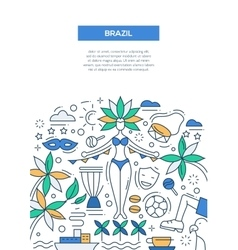 Brazil- line design brochure poster template A4 vector image