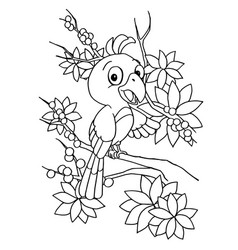 cartoon bird coloring page vector image vector image