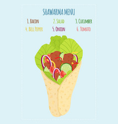 cartoon shawarma menu with ingredients kebab meat vector image