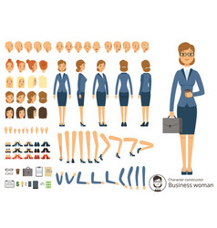 Character constructor of business woman cartoon vector