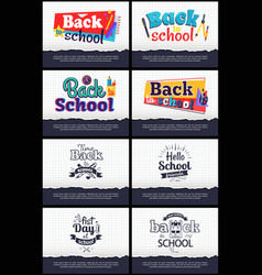 Collection of school-related cartoon stickers vector