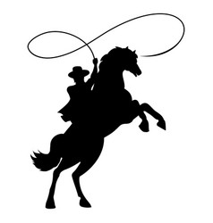 Cowboy silhouette with lasso on horse vector