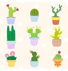 cute cactus set in flower pot vector image