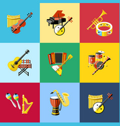 digital blue music instruments vector image vector image