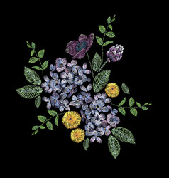 Embroidered composition with branch of lilac vector