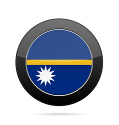 Flag of nauru shiny black round button vector