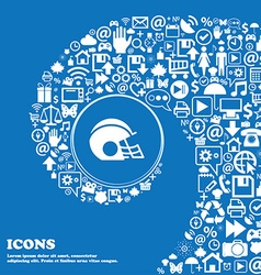 Football helmet icon sign nice set of beautiful vector