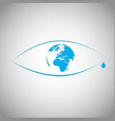 Global warming in an eye symbol vector
