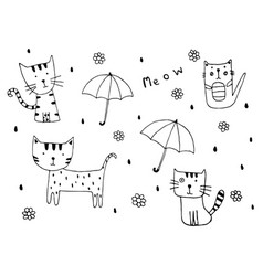 hand drawn of cute little kitten doodle with rain vector image vector image
