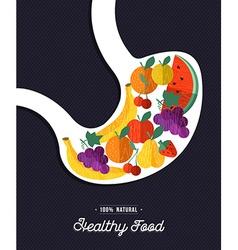 Healthy food human stomach eating natural fruits vector